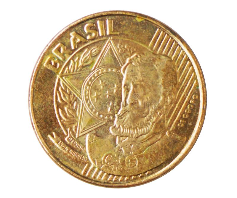 25 Centavos `T` partially inside stripes Deodoro da Fonseca coin, 1994~Today - Real serie, Bank of Brazil. Reverse, issued on 2003. Isolated on white royalty free stock image