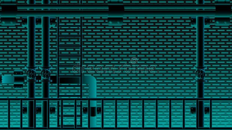 Centelleo de iluminación azul negro del neno de la escalera del tubo de la pared de ladrillo y de agua Ilustración EPS10 del vect libre illustration