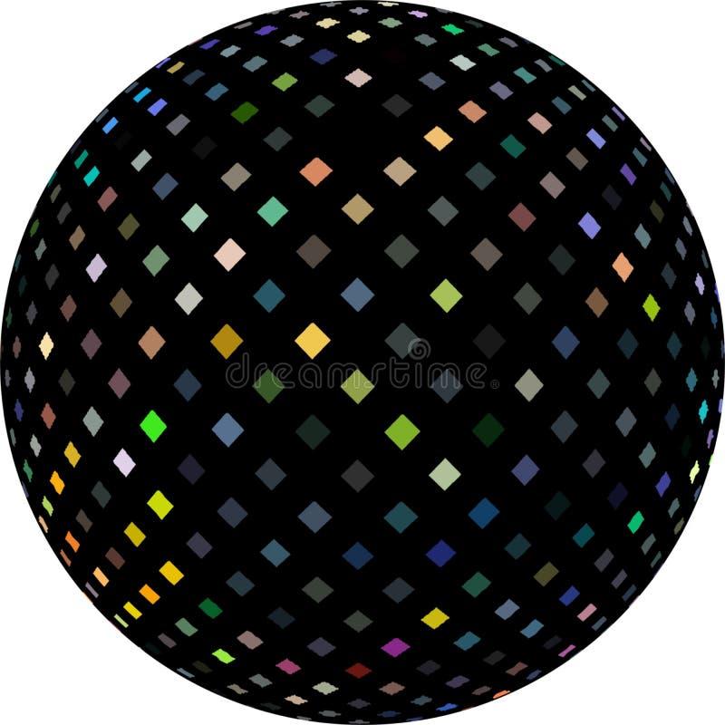 Centelleos del reflejo del holograma en la bola negra 3d Bola del disco aislada ilustración del vector
