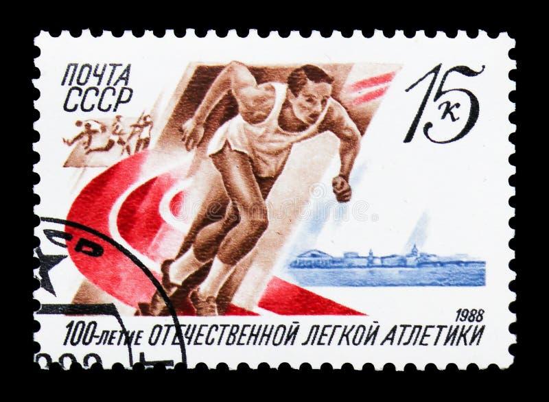 Centenaire de l'athlétisme russe, vers 1988 illustration de vecteur