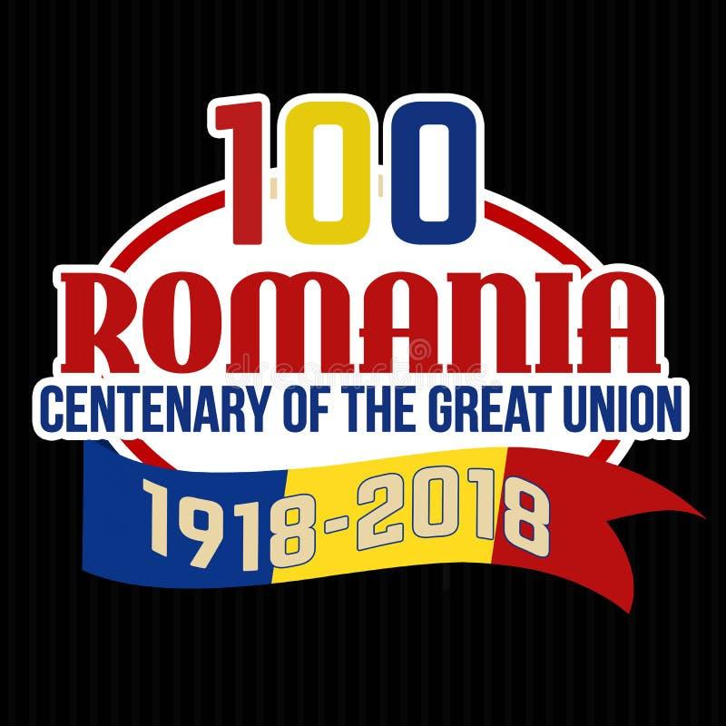 Centenaire de 100 Roumanie du grand label ou autocollant des syndicats illustration stock