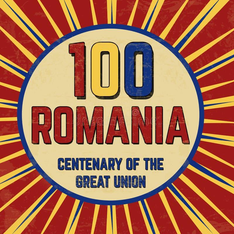 Centenaire de 100 Roumanie de l'affiche grunge de grand cru des syndicats illustration de vecteur