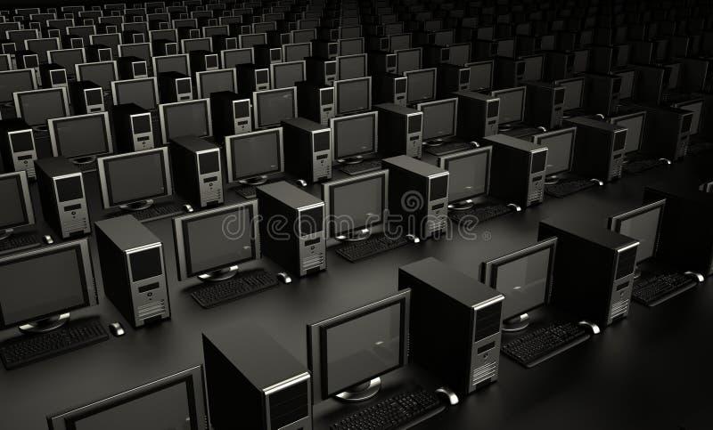 Centenares de ordenadores ilustración del vector