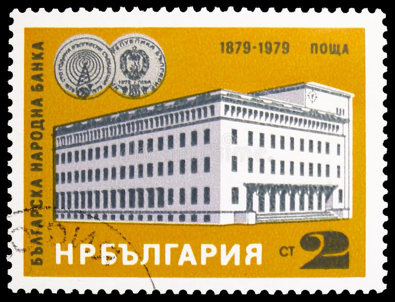 Centenary of Bulgarian National Bank, Banks serie, circa 1979. MOSCOW, RUSSIA - MARCH 23, 2019: Postage stamp printed in Bulgaria shows Centenary of Bulgarian royalty free stock image
