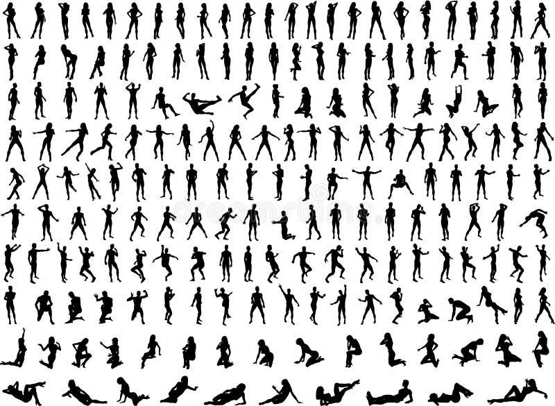 Centenas de silhuetas dos povos ilustração stock