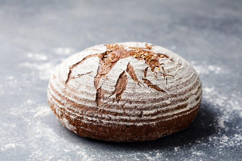 Centeno del pan, grano entero en un fondo gris Copie el espacio foto de archivo