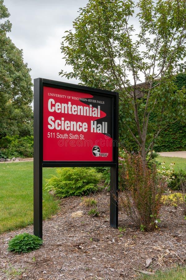 Centential vetenskap Hall på universitetet av Wisconsin River nedgångar arkivbilder