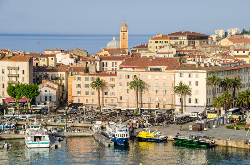 Center of Ajaccio. Ajaccio, France - May 27, 2016: View of the center of capital city of Corsica and birthplace of Napoleon Bonaparte with its marina, Fishing royalty free stock photography
