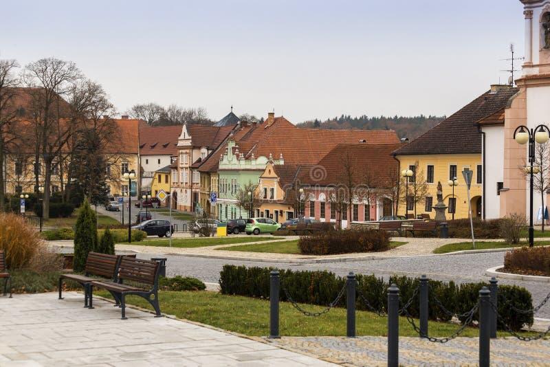 Center of Bechyne city, Czech Republic. stock photos