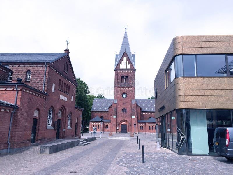 Center of the city Herning,Denmark. Travel to Europe under summer,Herning in the Denmark stock images