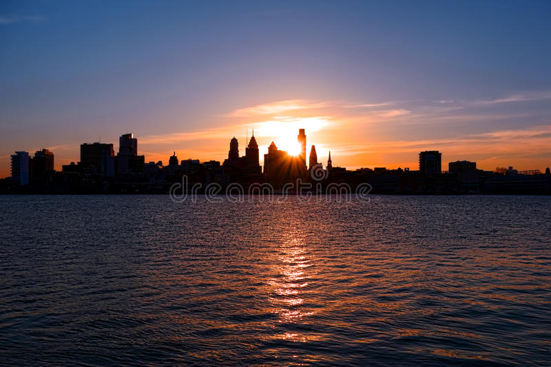 Center City Philadelphia and Delaware River Sunset. Sunset over downtown Center City Philadelphia with shadow silhouette scenic skyline cityscape of skyscraper stock images