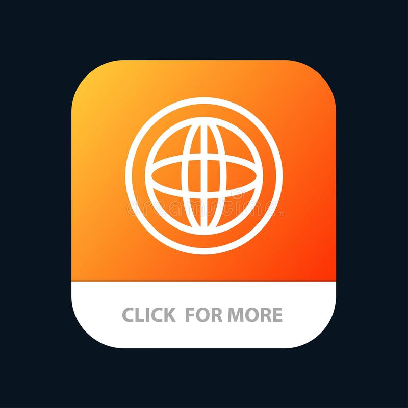 Center, Communication, Global, Help, Support Mobile App Button. Android and IOS Line Version royalty free illustration
