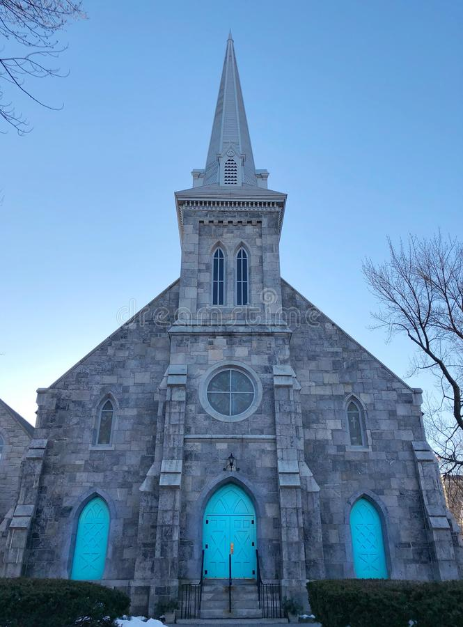 Center Congregational Church exterior. At night in New England Torrington Connecticut United States stock images