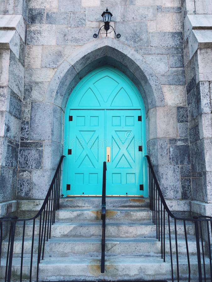 Center Congregational Church Green Door. And stairs in Torrington Connecticut United States royalty free stock photo