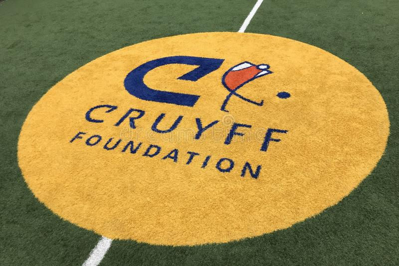 Center court logo of the Johan Cruyff Foundation stock photography