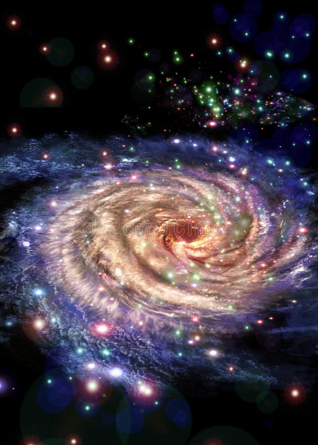 Center galaxies. Look to the center galaxies, charming the spirals of stars vector illustration