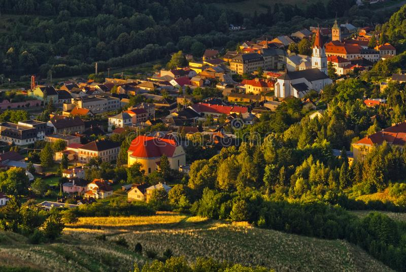 The center of Gelnica town during summer stock photography