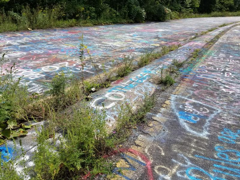 Graffiti Highway 4. Center of the graffiti highway in Centralia stock image