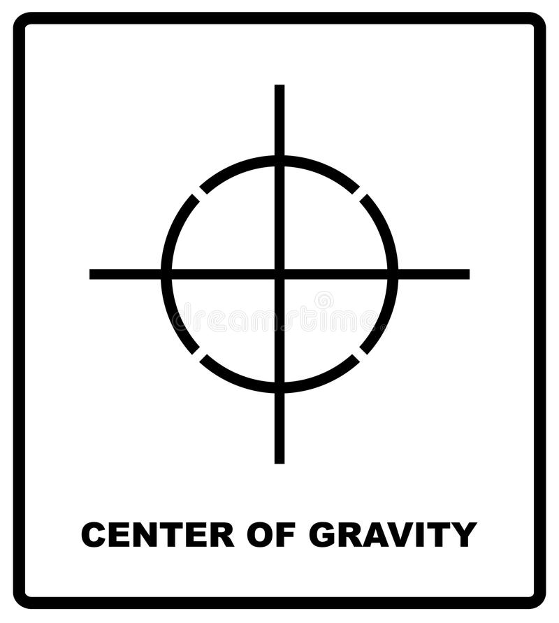CENTER OF GRAVITY packaging symbol on a corrugated cardboard box. For use on cardboard boxes, packages and parcels. Vector illustration royalty free illustration