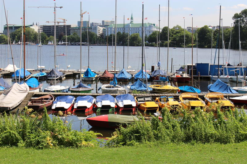 "In the center of Hamburg, Germany, Europe. View on the ""Binnenalster"" with boats stock photos"