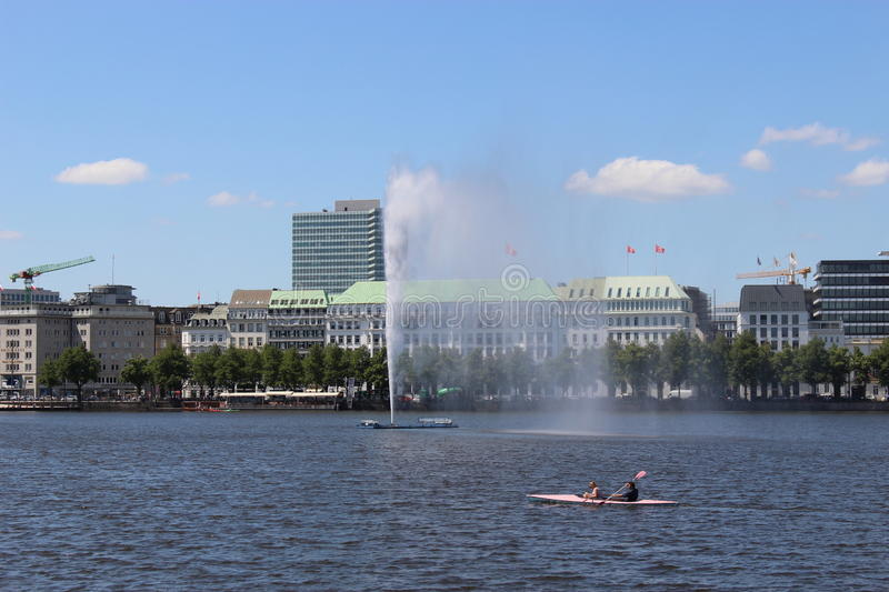 "In the center of Hamburg, Germany, Europe. View on the ""Binnenalster"" with fountain royalty free stock images"