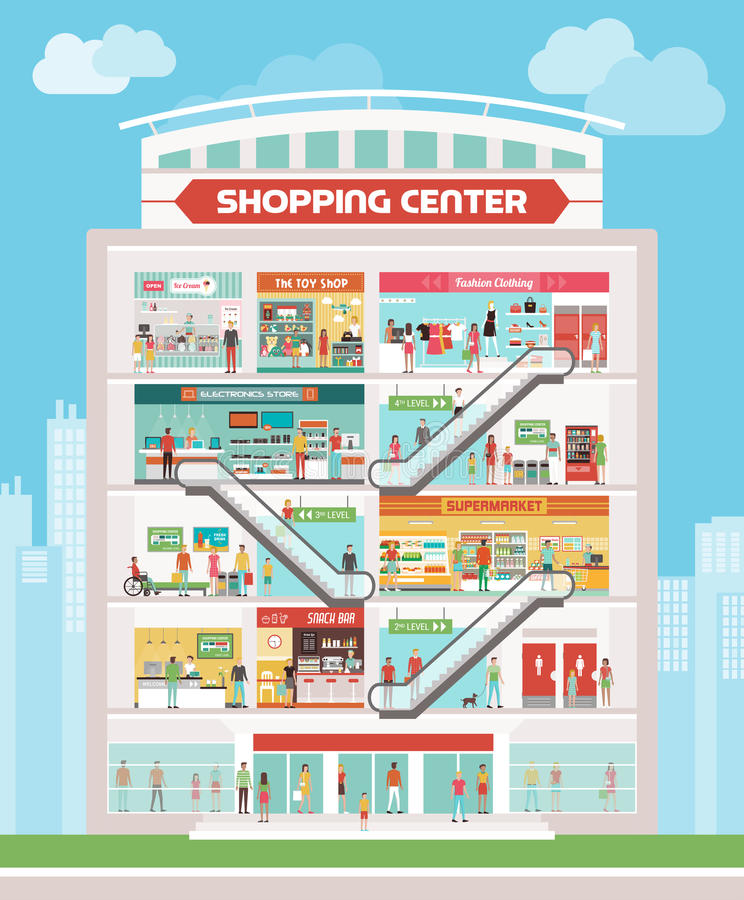 center inre galleriashopping stock illustrationer