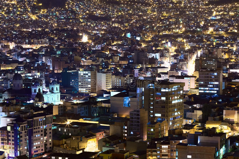 Center of La Paz in Bolivia at Night. View over the city center of La Paz, Bolivia at night. On the left side the Metropolitan Cathedral on Murillo Square can be stock images