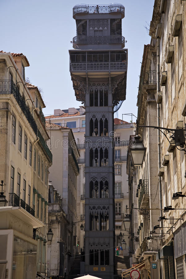 Center of Lisbon with famous Santa Justa lift. Top of the Santa Justa Lift in the city center of Lisbon, Portugal royalty free stock photo