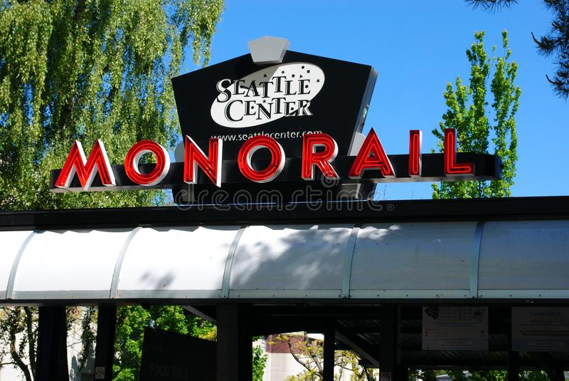 center monorail seattle arkivbilder