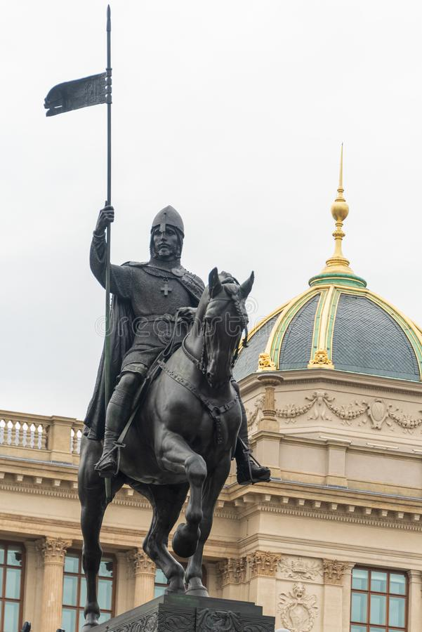 Free Center Of The Prague: Wenceslas Square, The Equestrian Statue Of Saint Wenceslas, Neorenaissance National Museum In Prague. Royalty Free Stock Photography - 159479547