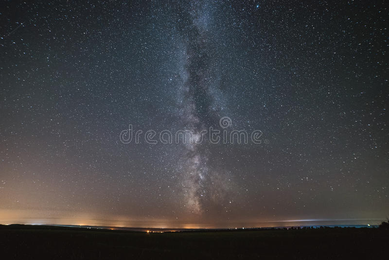 The center of our home galaxy, the Milky Way galaxy, night stars landscape stock image