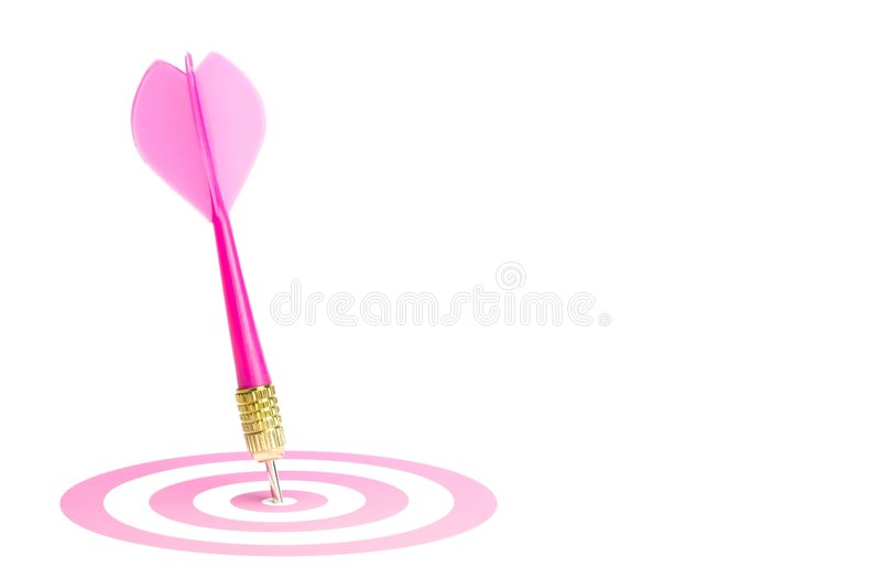 center pil som slår det rosa målet arkivbild