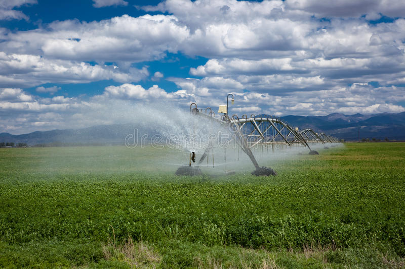 Center pivot agricultural irrigation system stock photography