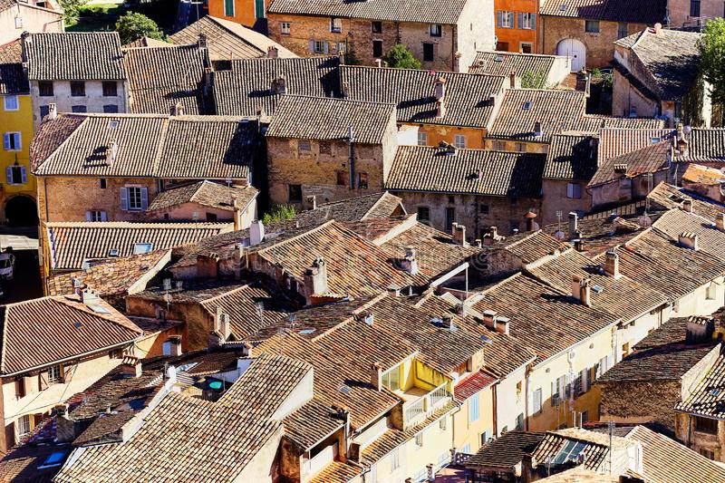 The center of Provencal Cotignac seen from above royalty free stock photography
