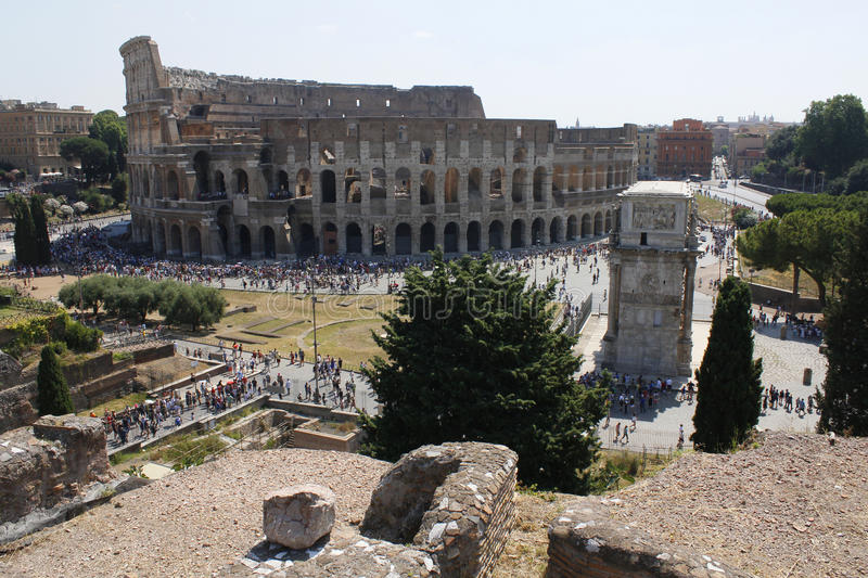Center of Rome, Ancient, Colosseum, Coliseum, ruins, old building, queue, Lazio, Italy. stock photo