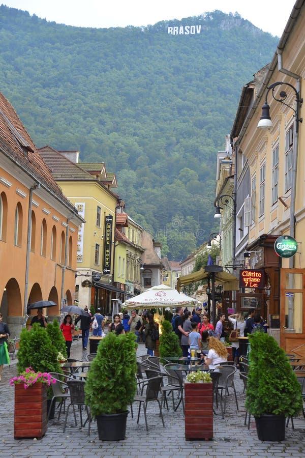 center stad gammala romania för brasov royaltyfri foto