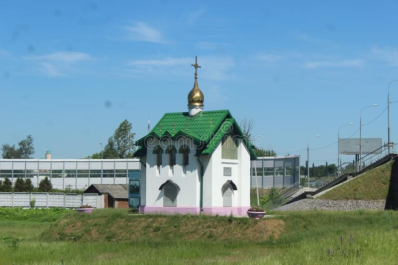 Moscow Oblast. Pushkino County. Tarasovka. Church. This the center of Tarasovka - western part. Welcome to Moscow Oblast stock images