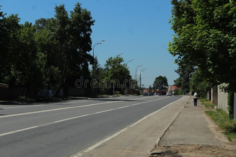Moscow Oblast. Pushkino County. Tarasovka. Road. This the center of Tarasovka - western part. Welcome to Moscow Oblast royalty free stock images