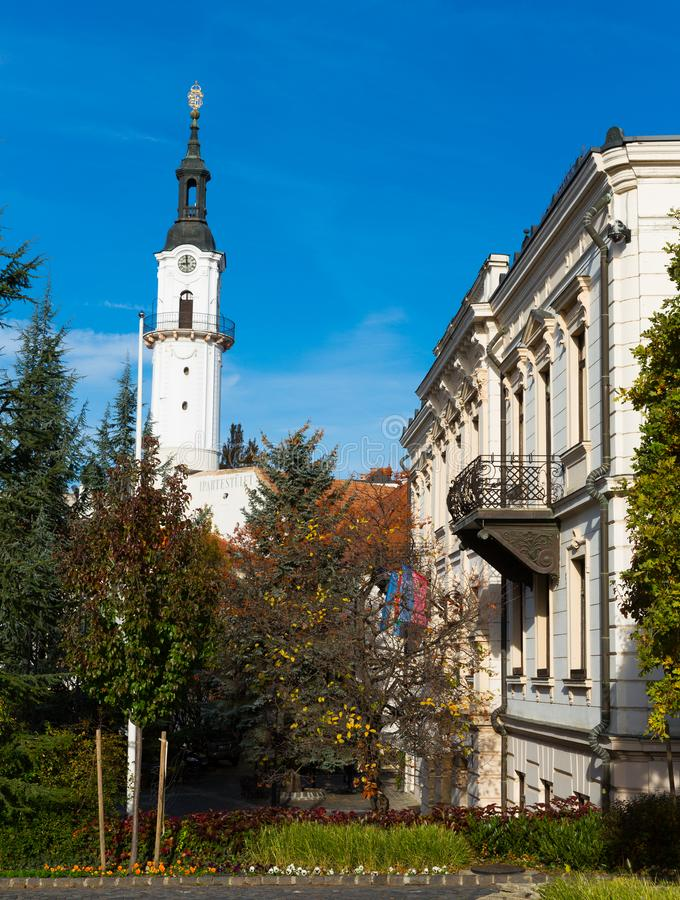 Center of Veszprem, Hungary. City landscape in the old town of Veszprem, Hungary stock photo