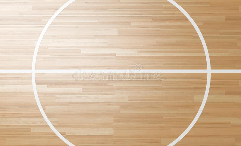 Center of Wooden Court 3D rendering. Center of Wooden basketball Court 3D rendering royalty free illustration