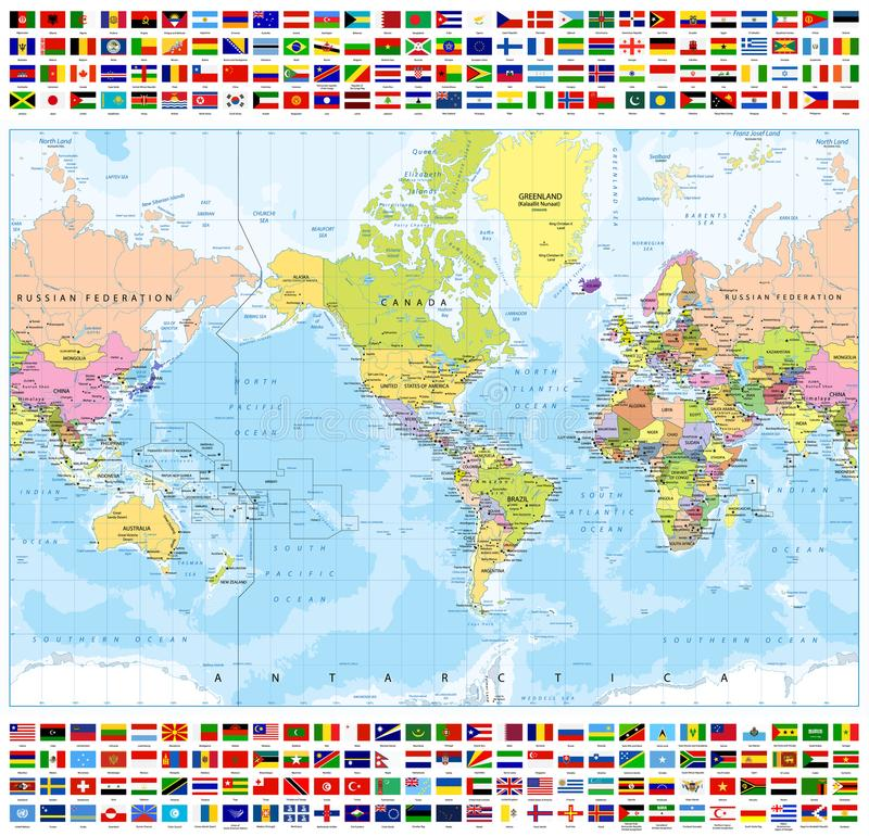 Centered america political world map and all world country flags download centered america political world map and all world country flags stock vector illustration of gumiabroncs Image collections