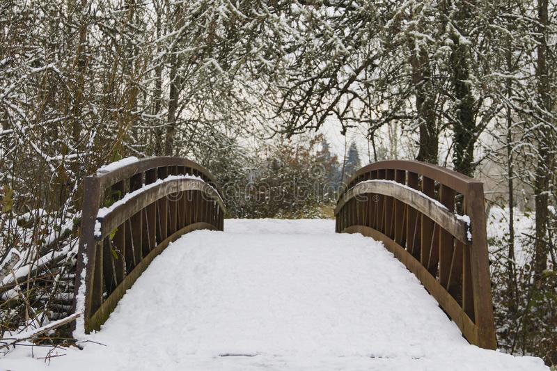 Centered View of Snow Covered Wooden Bridge in Wooded Area, Daytime. Isolated, Centered View of Snow Covered Wooden Bridge in Wooded Area, Daytime royalty free stock photography