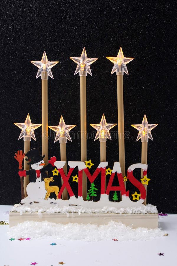 Centerpiece with Christmas ornaments stock photo