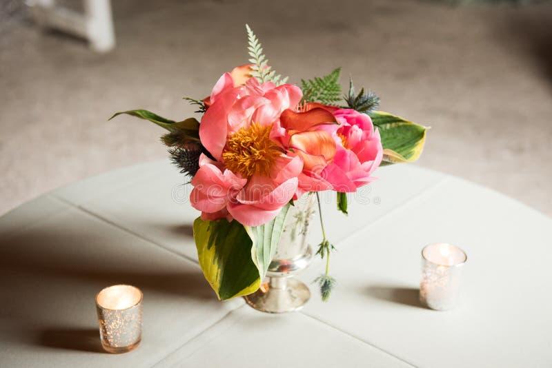 Centerpiece dla Ślubnego wydarzenia przyjęcia zdjęcie stock