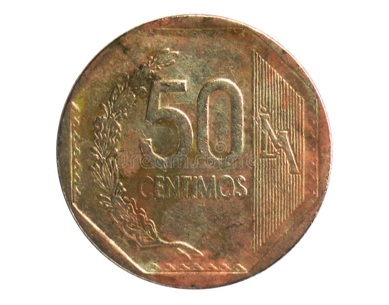 50 Centimos coin, 1991~2015 - Nuevo Sol Circulation serie, Bank of Peru. Obverse, issued on 2001. Isolated on white royalty free stock photo