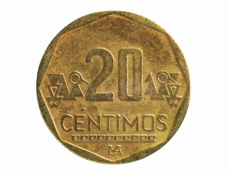 20 Centimos coin, 1991~2015 - Nuevo Sol Circulation serie, Bank of Peru. Obverse, issued on 1991. Isolated on white royalty free stock image