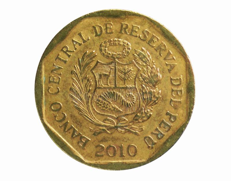 20 Centimos coin, 1991~2015 - Nuevo Sol Circulation serie, Bank of Peru. Reverse, issued on 1991. Isolated on white stock images