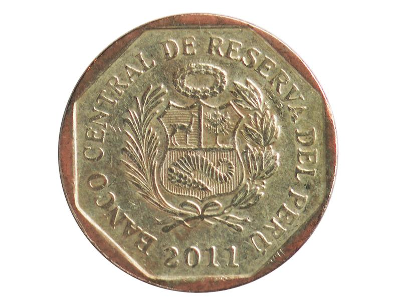 50 Centimos coin, 1991~2015 - Nuevo Sol Circulation serie, Bank of Peru. Reverse, issued on 2001. Isolated on white stock photo