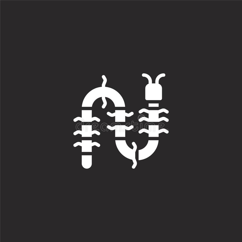 Centipede icon. Filled centipede icon for website design and mobile, app development. centipede icon from filled jungle collection. Isolated on black background stock illustration