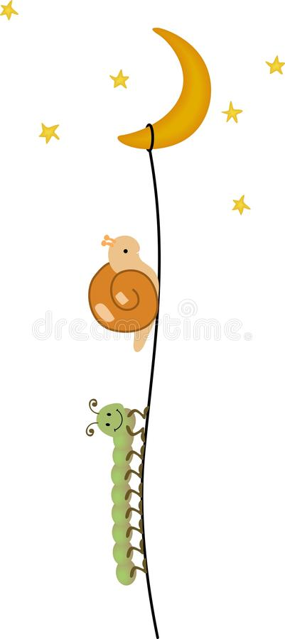 Centipede and snail climbing to the moon stock illustration